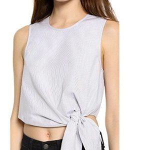 Tibi Blue & White Striped Crop Top With Side Tie